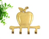 Vintage Brass Apple Wall Hooks / Brass Key Rack / Brass Key Hooks / Mid Century Brass Apple Key Rack / Vintage Brass Key Holder