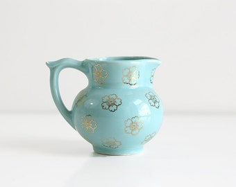 Vintage Mid Century Sky Blue and Gold Floral Ceramic Pitcher by The Pantry Parade