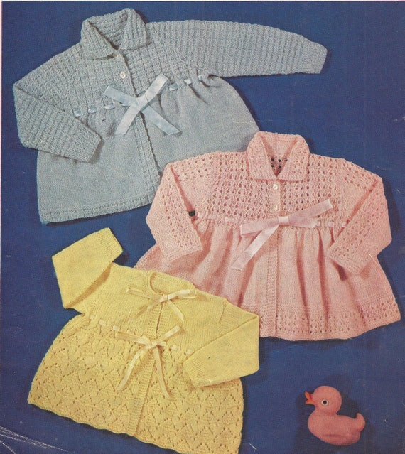 KNITTING PATTERN FOR MATINEE COAT AGE 6-12mths