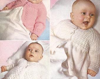 "PDF Knitting Pattern Three Patterned Baby Matinee Coats 18-19"" (D252)"