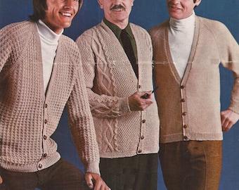 "PDF Knitting Pattern Vintage Mens Patterned Cardigans 3 Designs Sizes 38-46""  (GAL)"