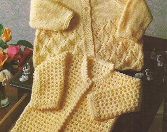 "PDF Knitting Pattern Baby Matinee Coats sizes 16 & 18"" (N038)"