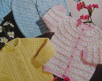 "PDF Knitting Pattern Vintage Babys Cardigans 18-19"" (D75)"