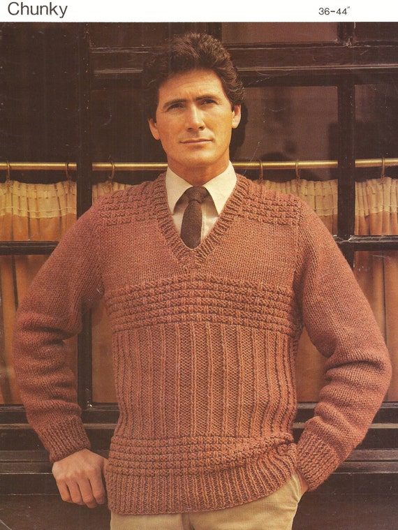 Pdf Knitting Pattern Mens V Neck Raglan Chunky Knit Sweater Etsy