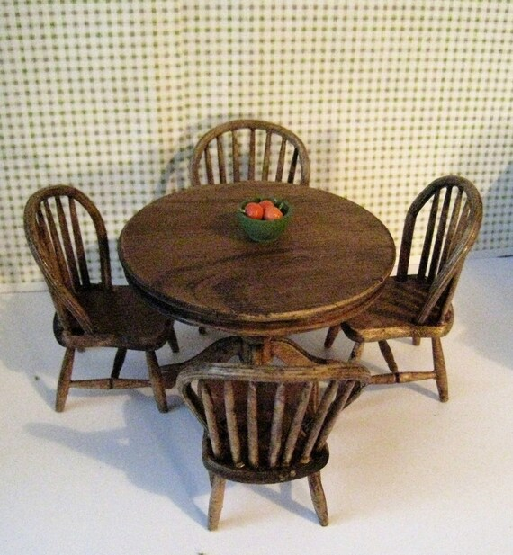 Dollhouse Table Four Kitchen Chairs Round Table Country Etsy
