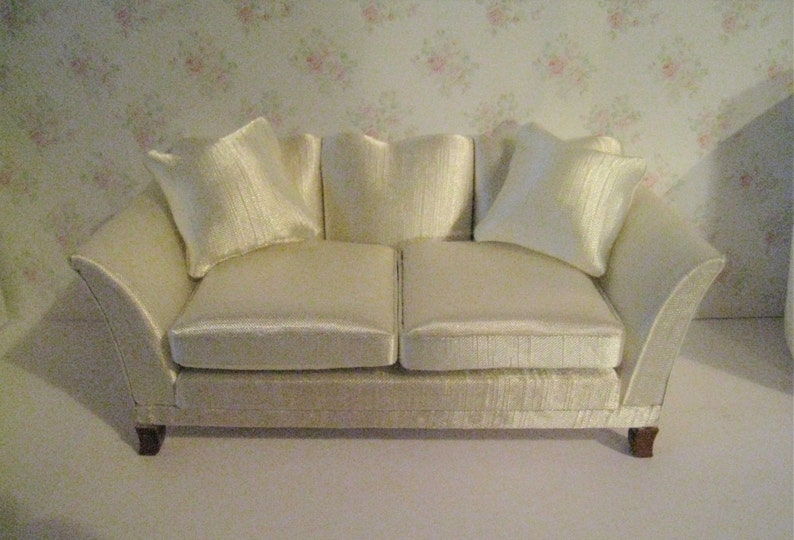 Marvelous Dollhouse Sofa Satin Sofa Cream Satin Living Room Sofa Elegant Sofa 1 12 Scale Couch Love Seat Machost Co Dining Chair Design Ideas Machostcouk