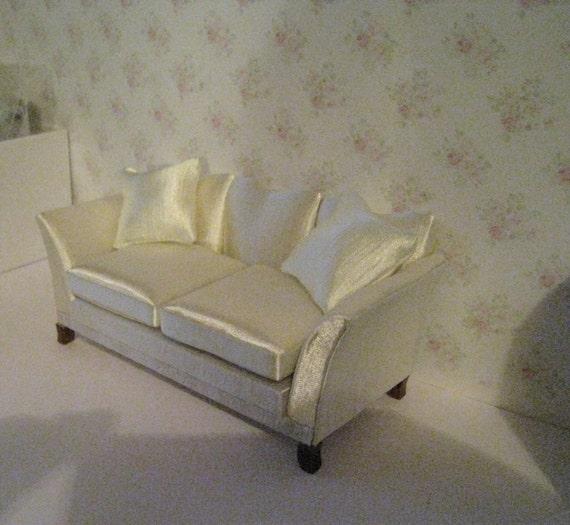 Miraculous Dollhouse Sofa Satin Sofa Cream Satin Living Room Sofa Elegant Sofa 1 12 Scale Couch Love Seat Machost Co Dining Chair Design Ideas Machostcouk