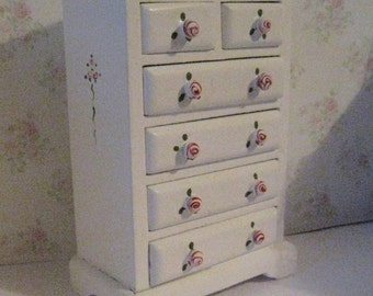 Dollhouse chest, tatty Chic chest, Drawers, pretty chest,  small  Chest of drawers,  a dollhouse mini, twelfth scale chest