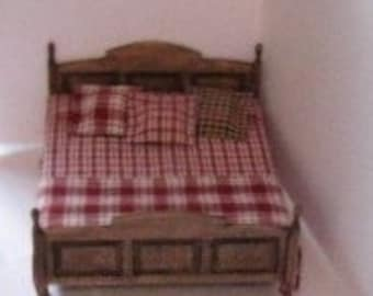 Dollhouse Country  Bed, Double bed,  country style, homespun spread, country look,, twelfth scale,
