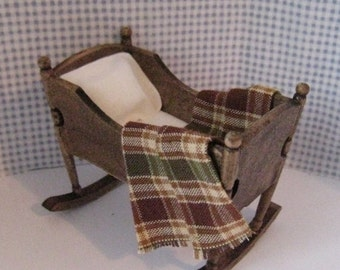 Dollhouse Furniture,   dollhouse cradle, country style, dollhouse miniature, twelfth scale,