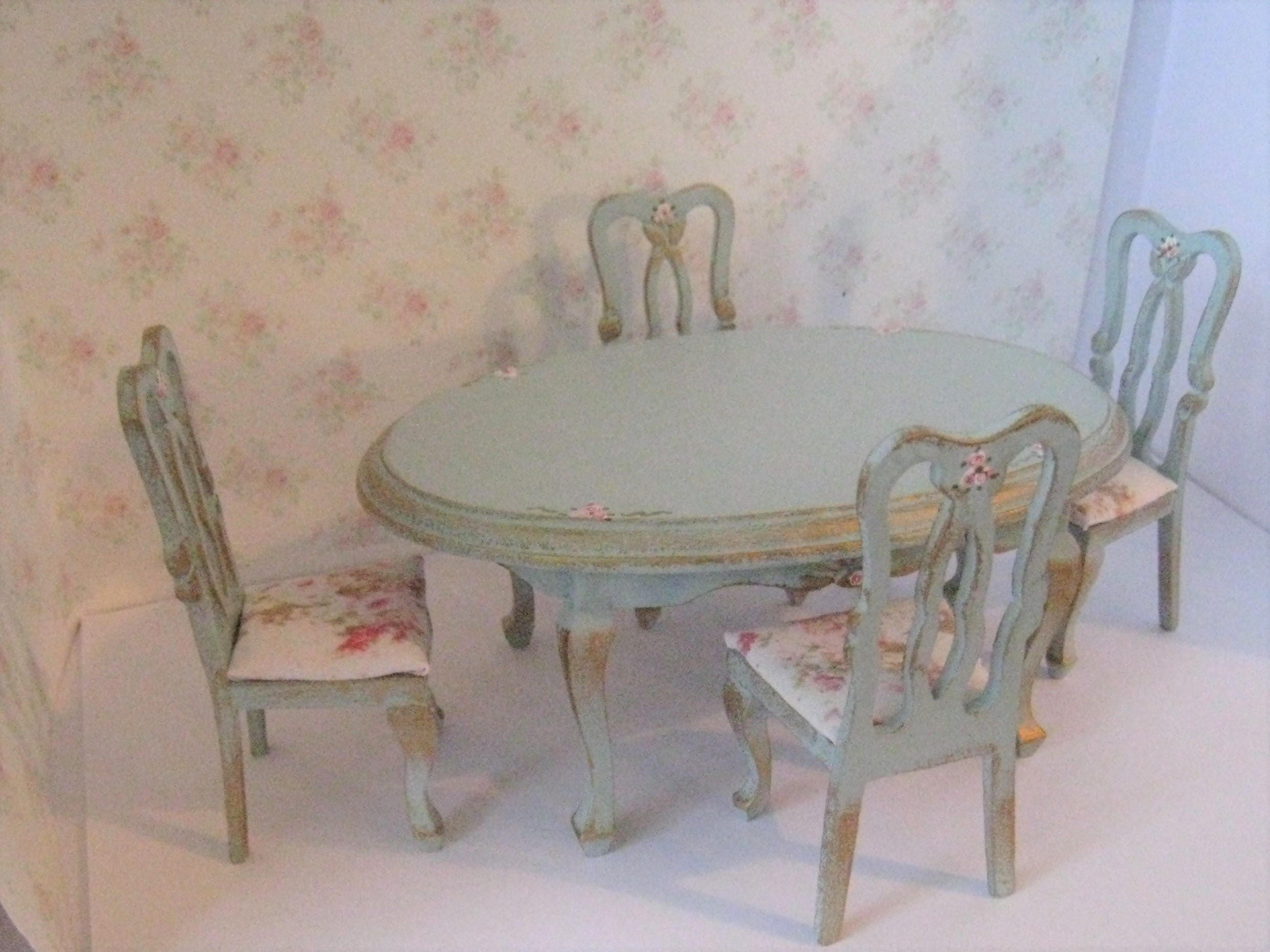 Dollhouse Table Oval Dining Table Four Chairs Duck Egg Etsy