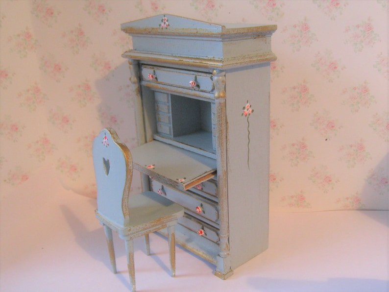 Stupendous Dollhouse Desk Country Desk Desk Duck Egg Blue Gold Trims Twelfth Scale Dollhouse Miniature Machost Co Dining Chair Design Ideas Machostcouk