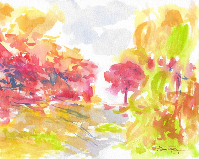 Original Watercolor Painting Changing Seasons 1 image 0