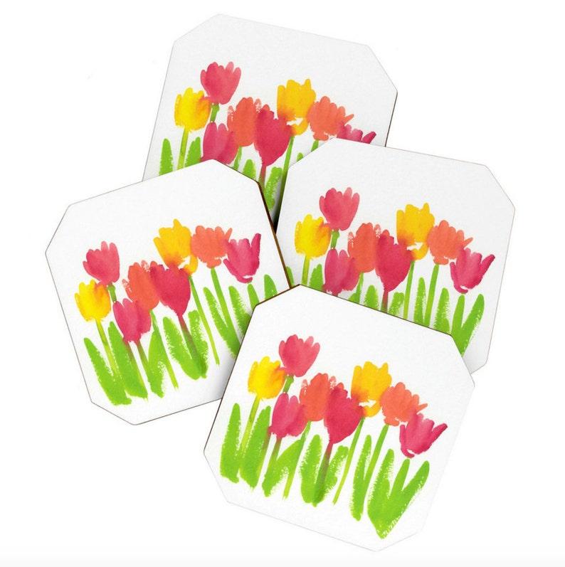 Bright Tulips Coaster Set image 0