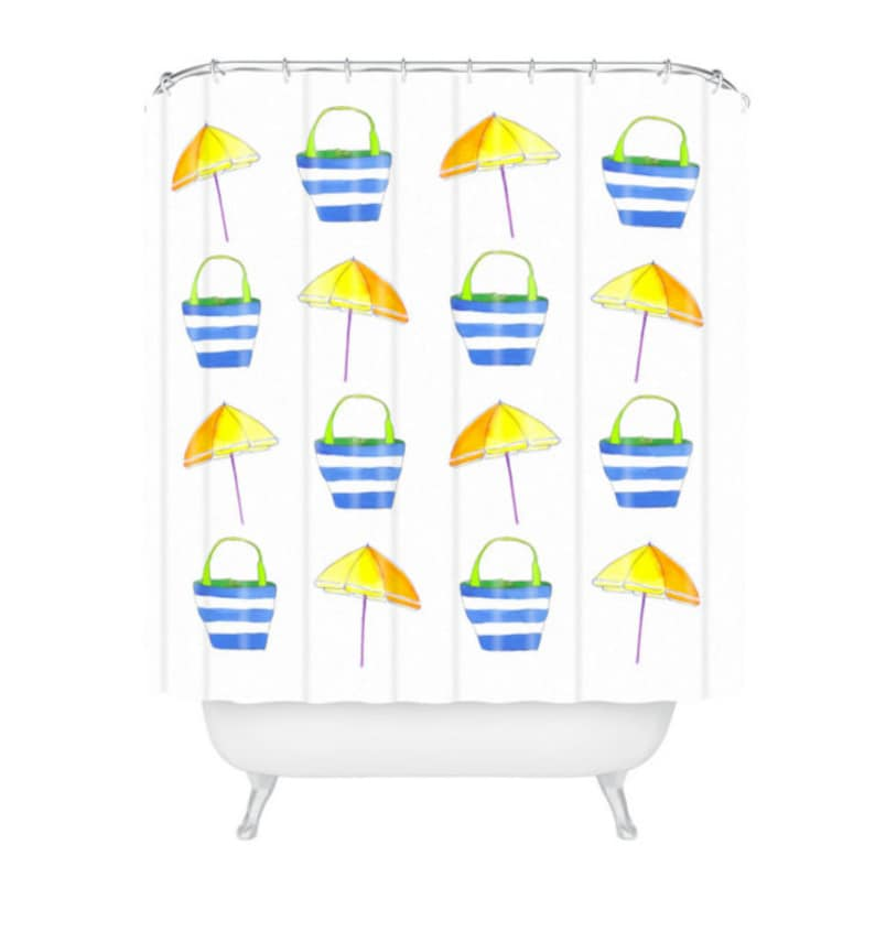 Tropical Holiday Watercolor Shower Curtain image 0