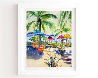 Caribbean Time - White Framed Wall Art