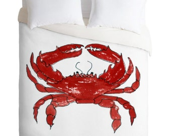 Red Crab Crab Duvet Cover / Coastal Bedding