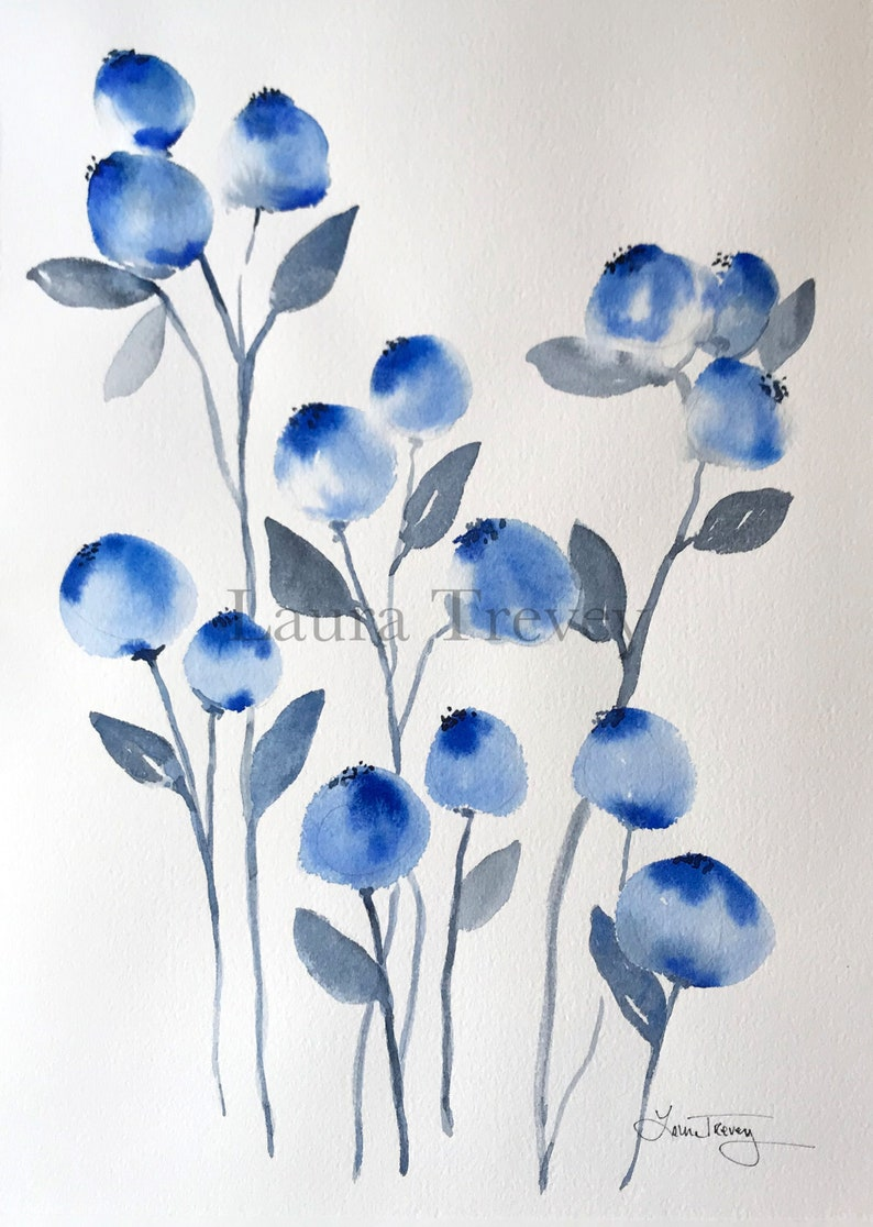 Into The Blue Original Watercolor Painting image 0