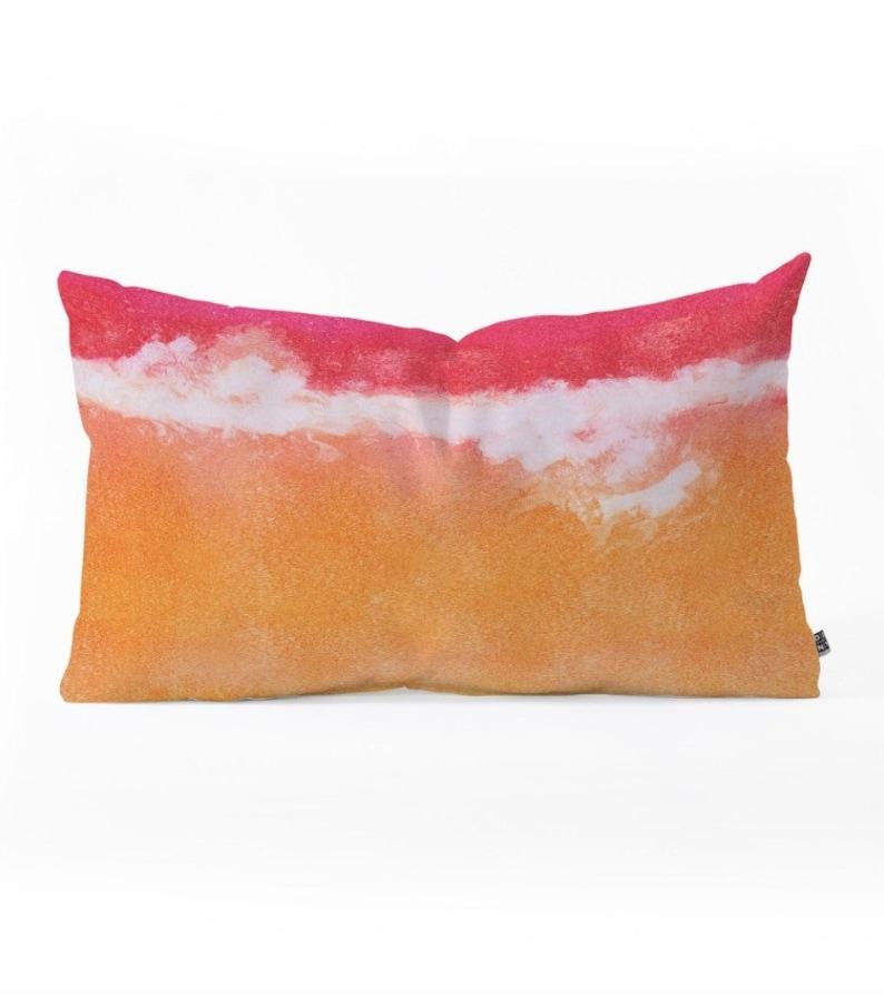 Oblong Throw Pillow  Tangerine Tie Dye image 0