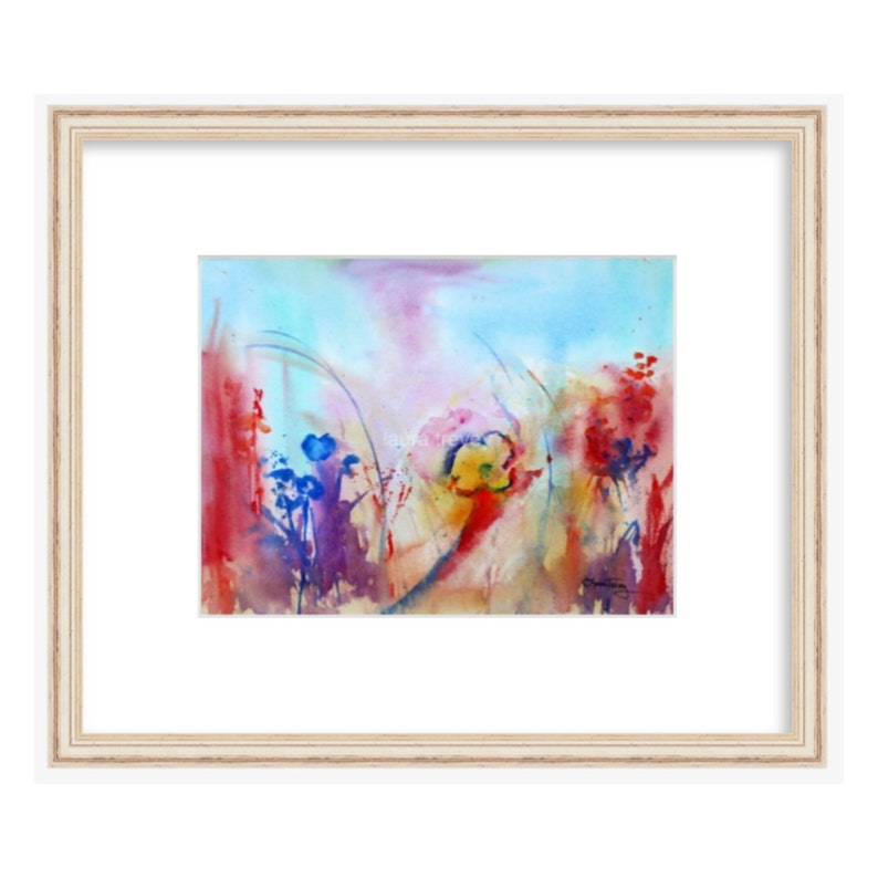Wildflowers in Watercolor Print  Abstract Watercolor image 0