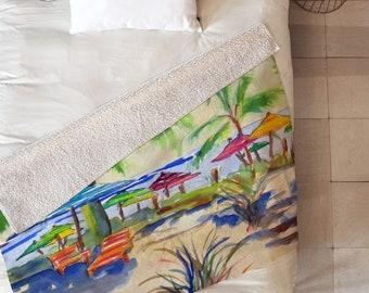 Caribbean Time Sherpa Throw Blanket / Coastal Throw / Beachy Blanket