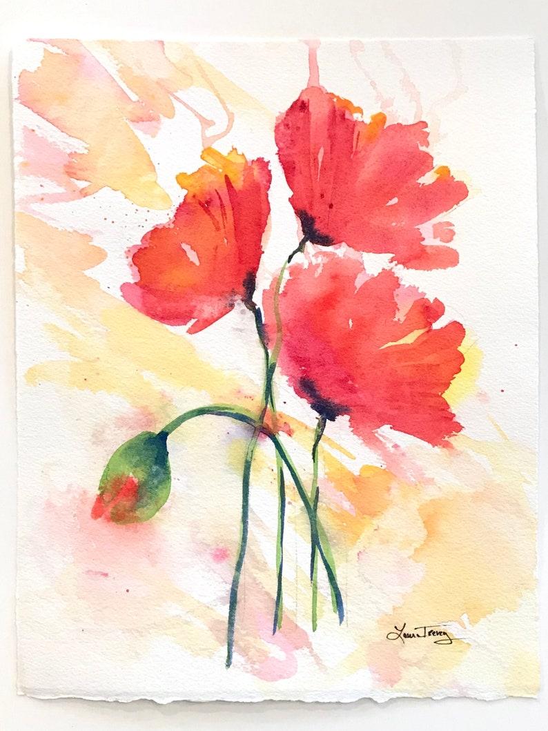Original Watercolor Painting Dancing Poppies image 0