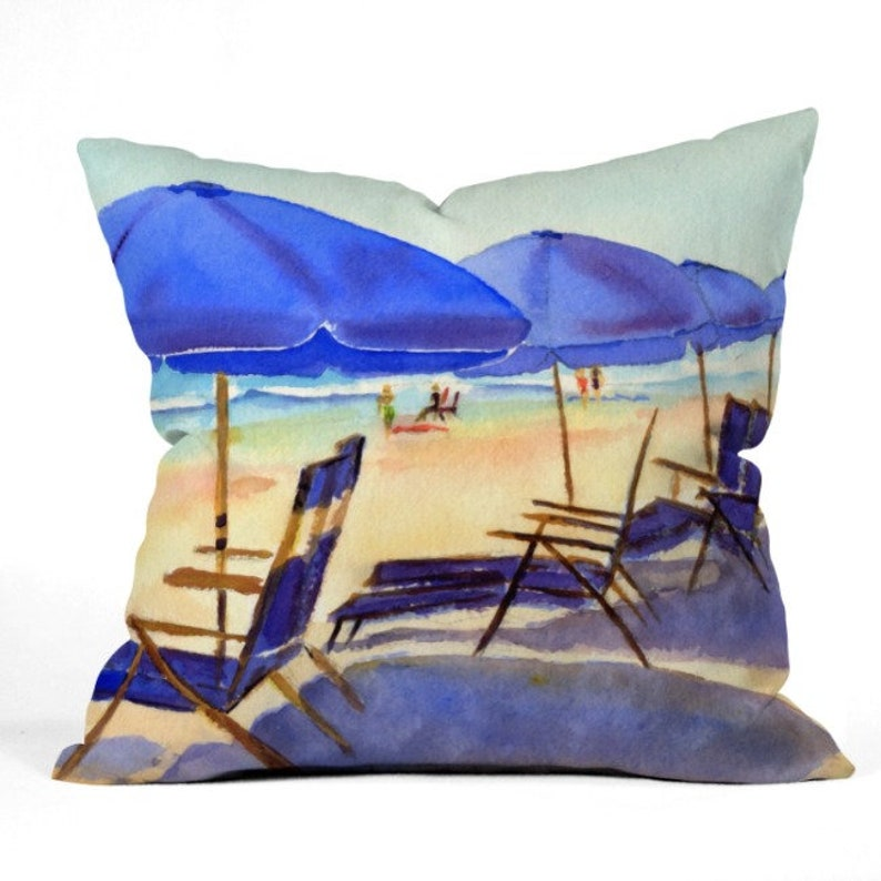 Beach Chairs Outdoor Throw Pillow image 0