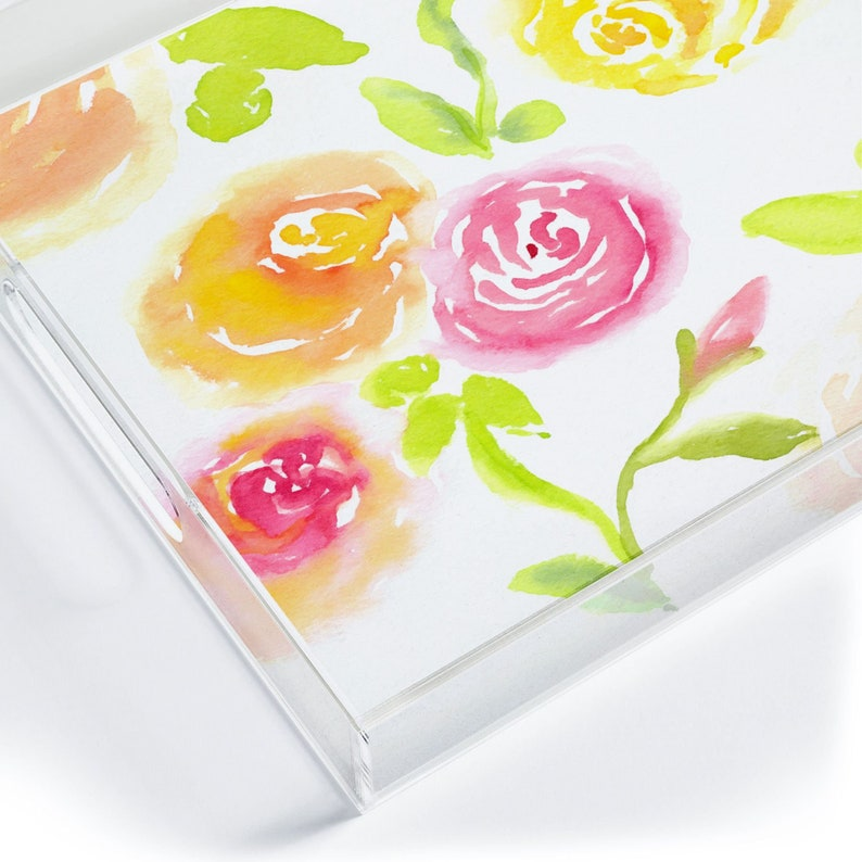 Acrylic Tray  Medium Size with Handles Candy Colored Blooms image 0