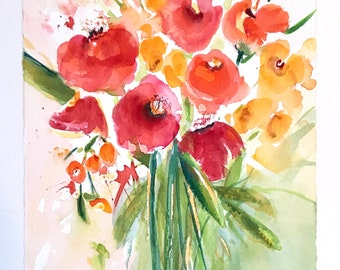 11x14 Floral Watercolor Giclee Print   Colorful Giclee Art Print