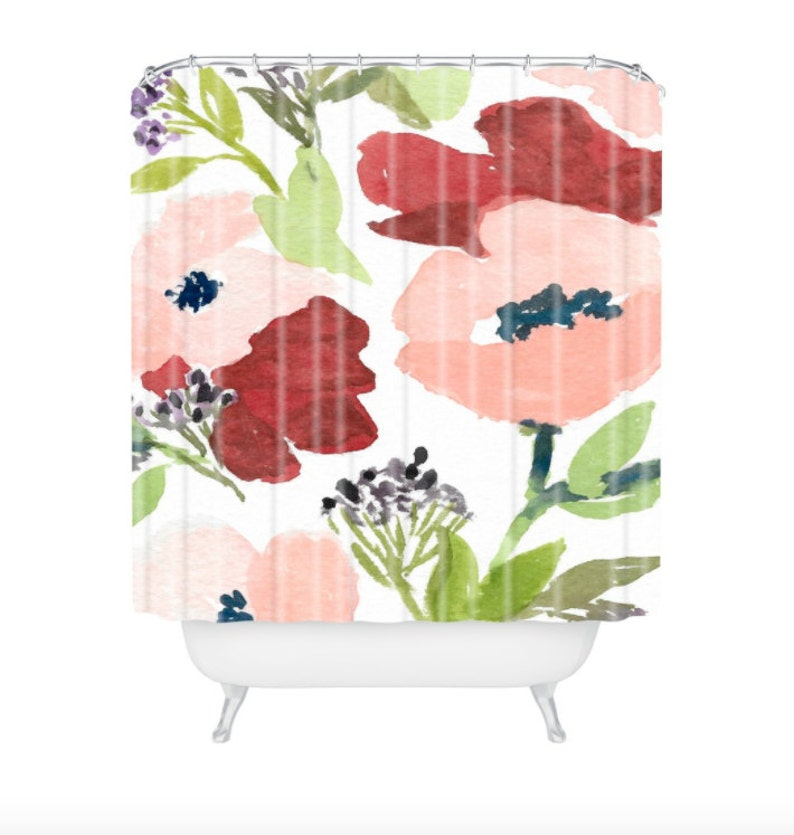 Pink Poppies Shower Curtain image 0