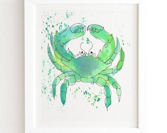 Seafoam Green Crab - White Framed Wall Art - Beach Art