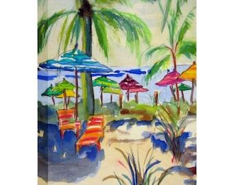 Coastal Caribbean Art Canvas, Beach Decor
