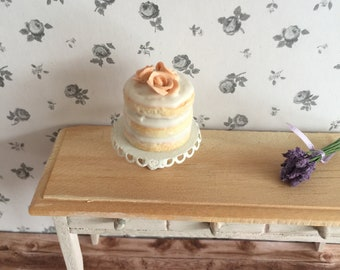 Lovely Peach Color Two Tiered Shiny Copper DessertCupcakeAppetizer Stand with Gold Tone Handle.