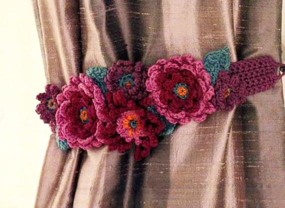 Blumen Häkeln Vorhang Raffhalter Muster Häkeln Pdf Etsy