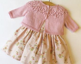 Baby Cardigan Pattern PDF, Baby Girl Knitting Pattern, Baby Knitting, Lace Baby Cardigan, Meredith Baby Cardigan, Instant Download PDF