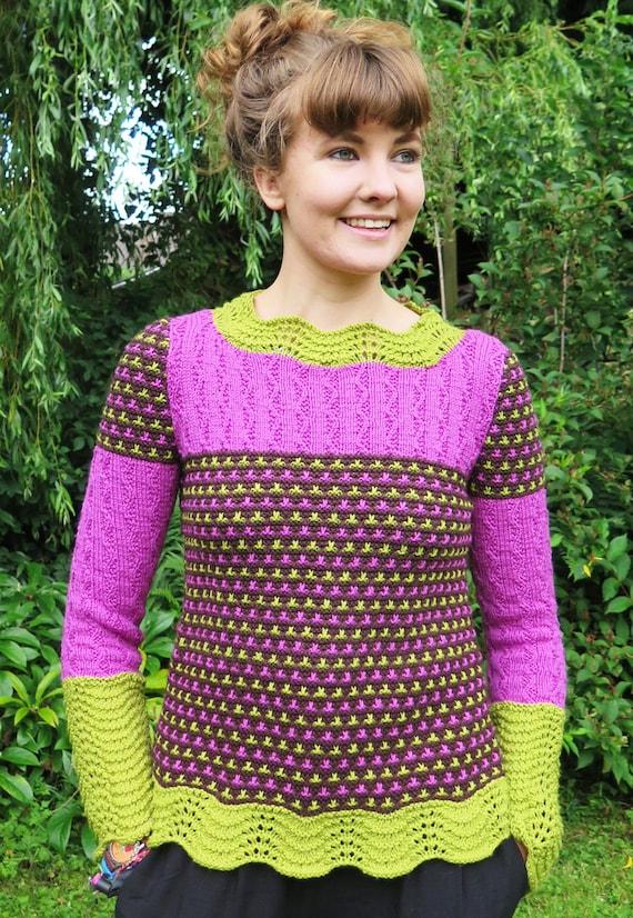 Damen Pullover stricken Muster in 3 Farben Knitting Pattern | Etsy