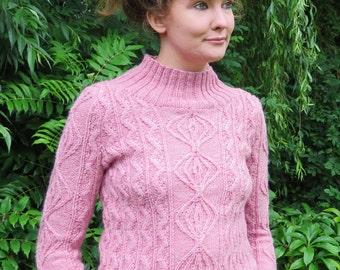 Ladies Aran Sweater, cable sweater knitting pattern PDF