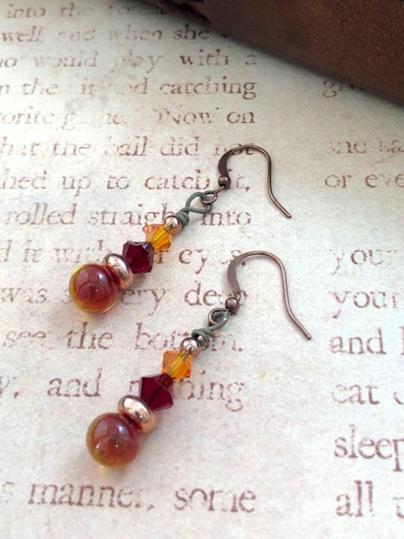 OOAK Earrings Autumn Flower