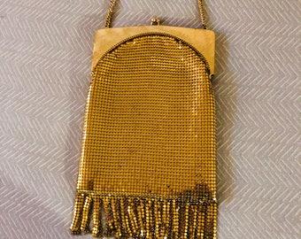 1930s gold mesh and fringe evening bag (WHITING & DAVIS)