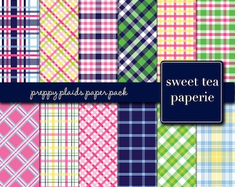 Preppy Plaids Digital Paper Pack (Instant Download) palm beach, preppy, plaid, madras