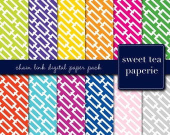 Chain Link Digital Paper Pack (Instant Download)