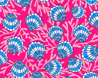 She Sells Sea Shells (Instant Download) preppy, white, pink, painted, sea shells, beach