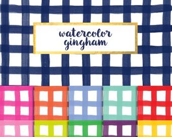 Watercolor Gingham Digital Paper Pack (Instant Download)
