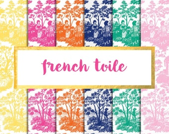 French Toile Digital Paper Pack (Instant Download) digital paper, digital paper pack, toile