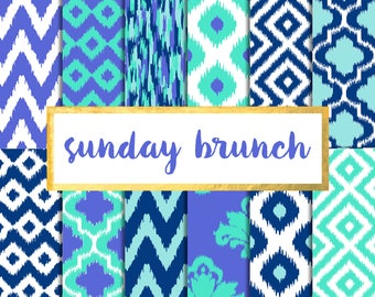 Sunday Brunch Ikat Digital Paper Pack (Instant Download)