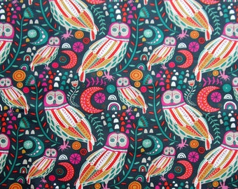 Owls Birds Moons Leaves Orange Pink White Green Quilter's Weight Cotton Print Fabric - Material - Yardage - Fabric by the Yard