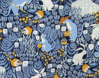 Blue Yellow Gold White Cats Rabbits Hedgehogs Beehives Quilter's Weight Cotton Print Fabric - Yardage - Fabric by the Yard