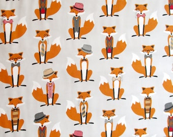 Dapper Foxes Grey Orange Black White Quilter's Weight Cotton Print Fabric - Yardage - By the Yard