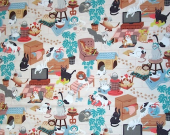 Cats in Hats Brown Turquoise Blue Off-White Quilter's Weight Cotton Print Fabric - Yardage - Fabric by the Yard - Quilting