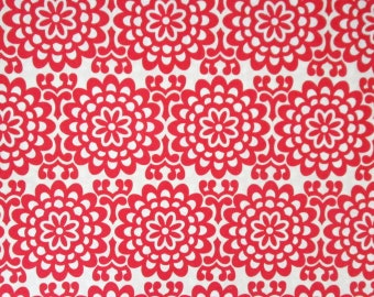 Big Red Off-White Flowers Floral Geometric Quilter's Weight Quilter's Blender Cotton Print Fabric -Material - Yardage - By the Yard